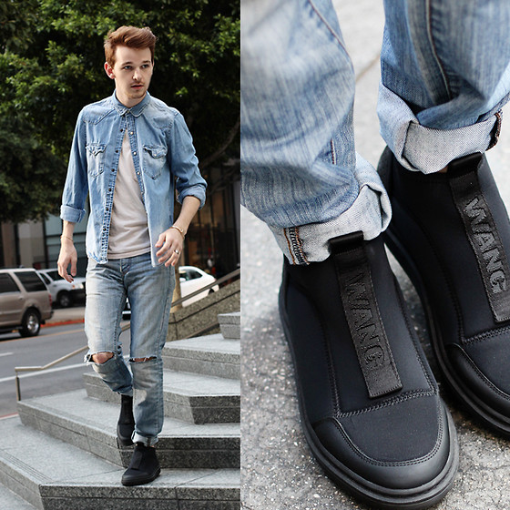 Drew Scott - Alexander Wang Neoprene Shoes, Levi's® Distressed Denim, H&M Denim Shirt - Denim & Wang