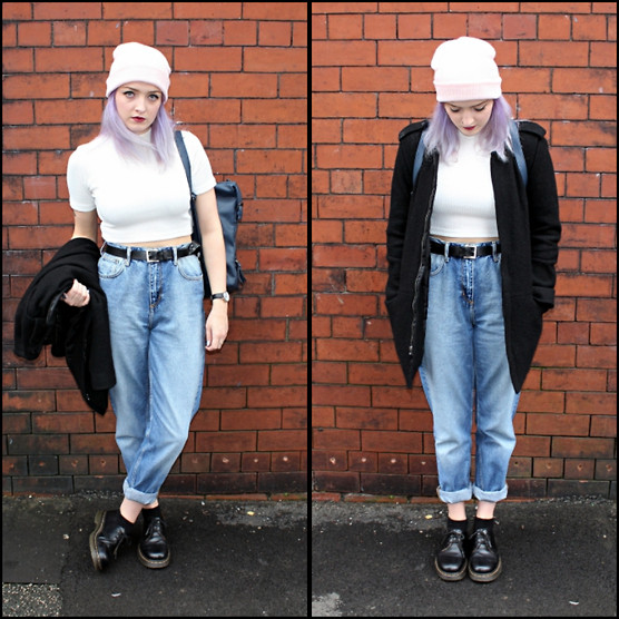 Alice Marie - Forever 21 Hat, Missguided Top, H&M Mom Jeans, H&M Coat, Primark Bag, Dr. Martens Shoes, Primark Belt - Autumn denim