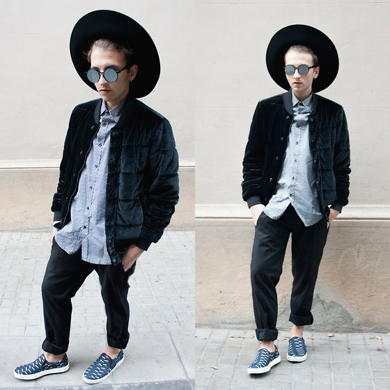 Jorge Barceló - United Nude Slip On, Giorgio Armani Pants, Antony Morato Shirt, G Star Raw Jacket, Vava Sunglasses, Vans Hat - BLACK WIDOW @ WWW.JUICYGUILE.COM