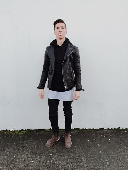 Mr. Varela - All Saints Conroy, John Elliot Villian Hoodie, Zanerobe Flinlock Tee, Zara Ripped Jeans, Loakes Suede Chelsea Boot - Fit and Form