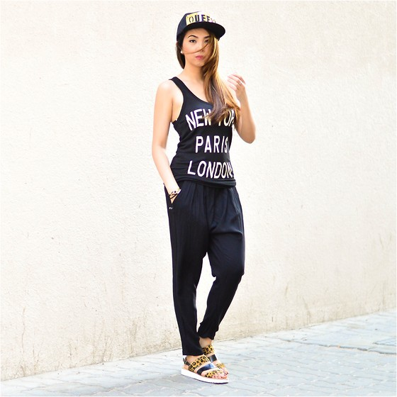 Angela Fernandez - Forever 21 Top, Forever 21 Harem Pants, Carolina Boix Leopard Sandals, Splash Queen Cap, Shoe Avenue Accessories - Cozy