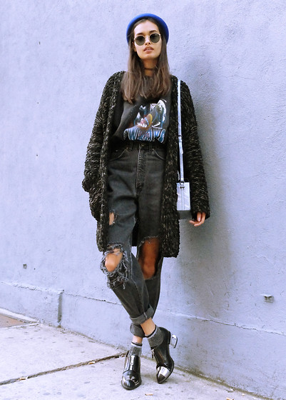 Gizele Oliveira - H&M Cardigan, Topshop Bag, Forever 21 Hat, Jeffrey Campbell Shoes, Topshop Socks - Autumn in NY