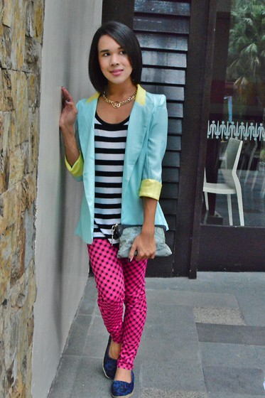 Kylie Rodriguez - The Ramp Pastel Blazer, People Are Striped Tank Top, Fudge Rock Gold Chain, Chaps Pink Plaid Leggings - Sweet As Sugar
