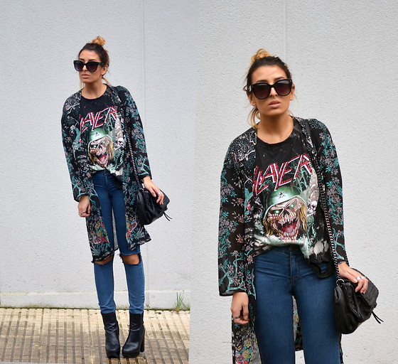 L A - High Heels Suicide Slayer Distressed T Shirt, Oasap Kimono - FACE THE SLAYER