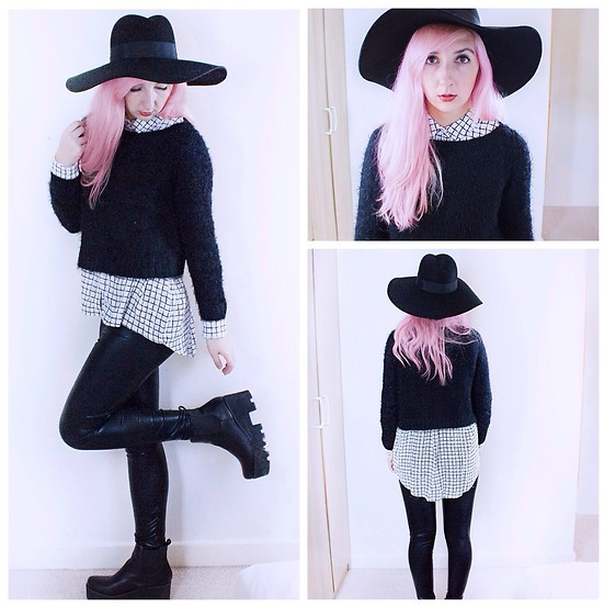 Tilly Kozimor - Topshop Grid Shirt, La Moda Flatform Chelsea Boot, Topshop Big Floppy Black Hat - Grid Layers