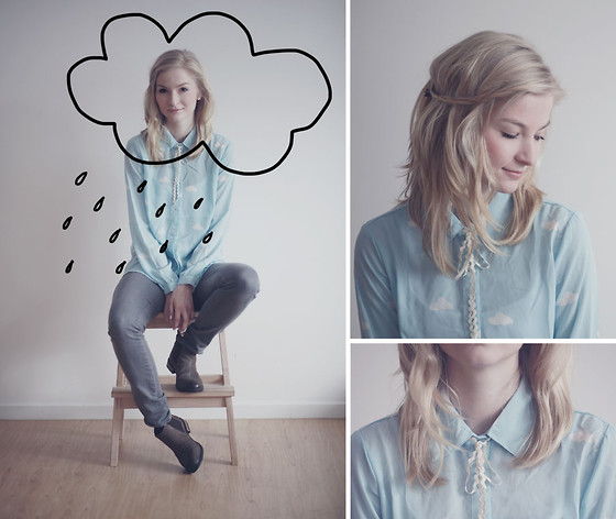 Joana ♡ - Sheinside Blouse, H&M Jeans, S.Oliver Boots - Head in the clouds
