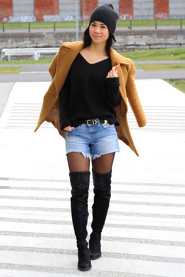 Tweety Ho - Asos Black Beanie, Zara Camel Wool Coat, H&M Knitted V Neck Sweater, Vero Moda Jean Shorts, Aldo Thigh High Suede Boots - Who Says It's Too Cold For Shorts?