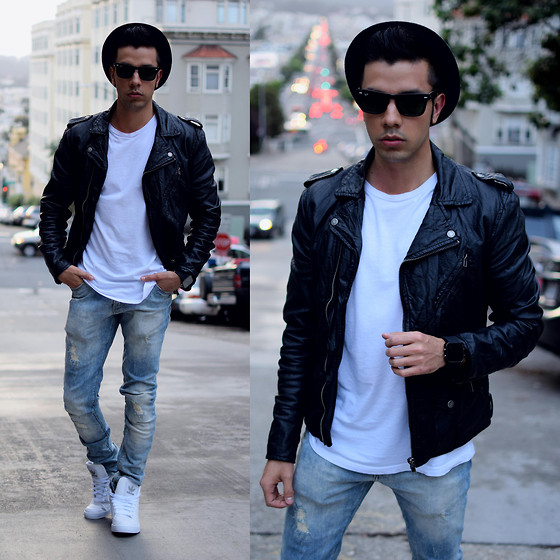 Franko Dean - H&M Biker Jacket, Zara Distressed Jeans, H&M T Shirt, Adidas High Tops, Ray Ban Wayfarer Sunglasses, Topman Hat, 1face Watch - Up and Down at Lombard !!