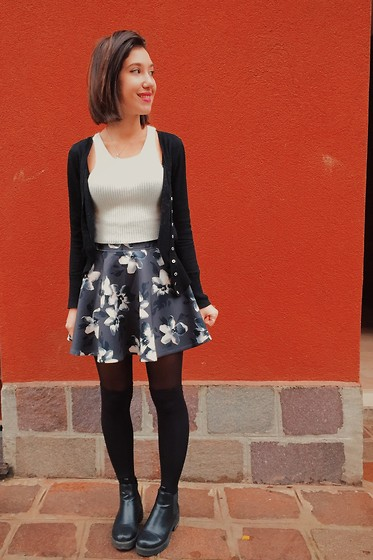 Francesca Schiavoni - Kocca Cardigan, Subdued Crop Top, Hollister Co. Skirt, Subdued Tights, Subdued Ankle Boots - Thirty One.