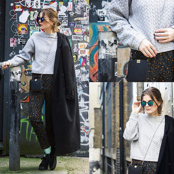 Ingrid Wenell - Weekday Sweater, H&M Trousers, Vintage Bag, Vintage Sunglasses, Weekday Coat, H&M Platform Sneakers - Leo trousers + Quilted sweater