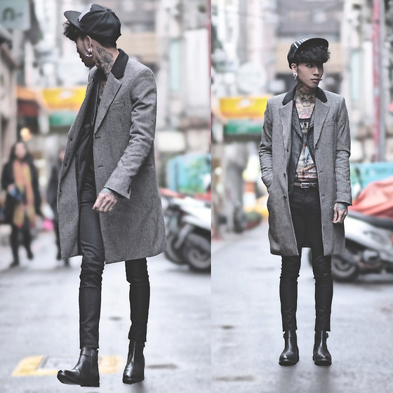 IVAN Chang - Asos Wool Overcoat In Dogtooth, Vintage Leather Jacket, Zara Tee, Topman Black Skinny Jeans, Asos Chelsea Boots - 041214 TODAY STYLE