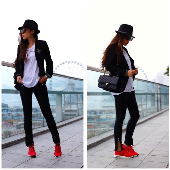 Sasa Zoe - Hat, Sunglasses, Tee, Blazer, Pants, Sneakers, Bag - RED HOLIDAY KICKS