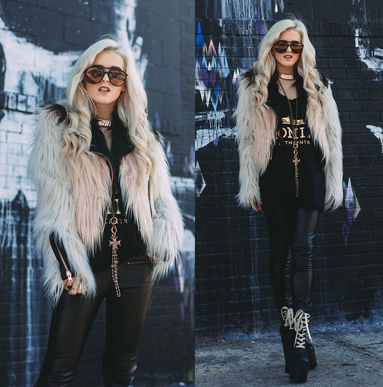 Rachel Lynch - Wildfox Black Mirror Aviators, Brian Lichtenberg Homies Tank, Black Leather Pants, Unif Hellraisers - Pink Moto Fur