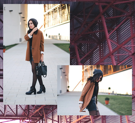 Sifreak Sichic Aida Plaza - Stradivarius Maxi Blazer, Zara Bag, Zara Boots, Diy Beanie, Stradivarius Leather Skirt - Steel-Alive