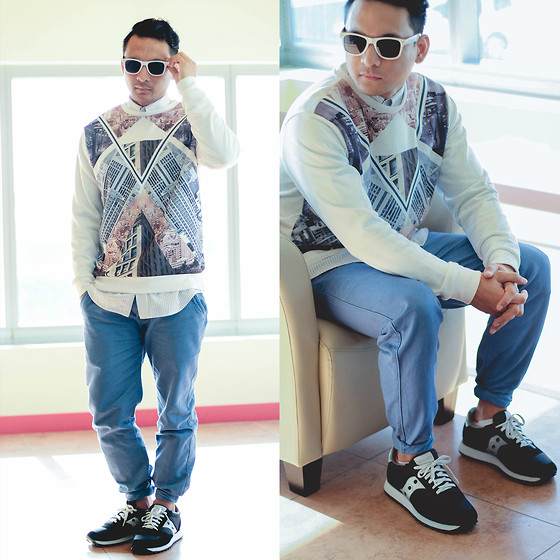 Geno Arguelles - Max Fashions Sweatshirt, Saucony Jazz Classic Shoe - Morning Rush