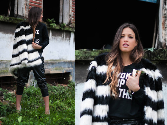 INGRID BETANCOR - Bershka Faux Fur Black And White Coat, H&M Black Feather Joggers, Sheinside Black Sweatshirt, Parfois Black And Silver Clutch, Zara Silver Stiletto - MONOCHROME!