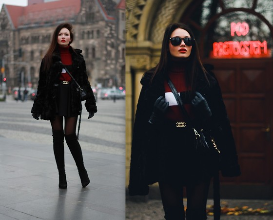Porcelanna - Zara Skirt, Saint Laurent Bag - Fur & Burgundy