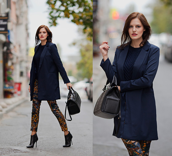 Viktoriya Sener - Breakicetrends Coat, Axparis Pants, Zara Bag, Hotic Booties, Romwe Sweater - NAVY