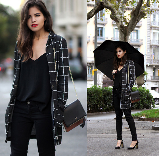 Adriana Gastélum - Sheinside Checked Coat, Cami Nyc Camisole, Coach Heels - One cup of coffee