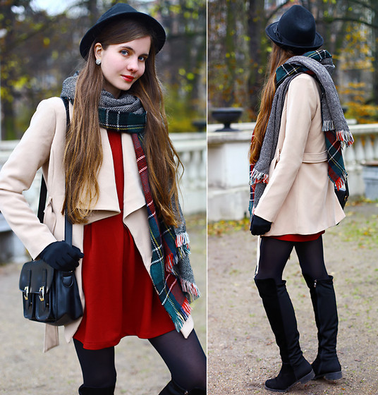 Ariadna Majewska - Sheinside Beige Coat, Trendy Fine Burgundy Dress, Thewildflowershop Double Sided Plaid Scarf, Persun Black Over Knee Boots, Choies Black Bag - Colorful winter