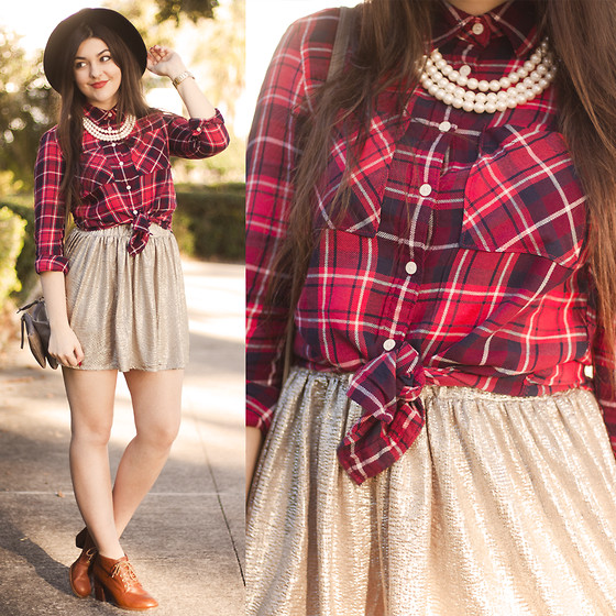 Carly Maddox - Aeropostale Plaid Shirt, Aeropostale Gold Shiny Skirt - Plaid + Shine