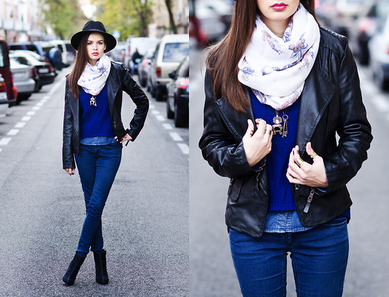 Mariya Marinova - H&M Denim Shirt, H&M Denim Jeans, H&M Scarf - Royal Blue.