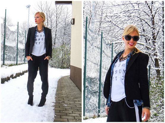 Signe Savant - Street People Atelier Mirrored Times Tee, Freyrs Leather Look Sunglasses, Deb Tuxedo Pants - I dont' know how to dress for snow...