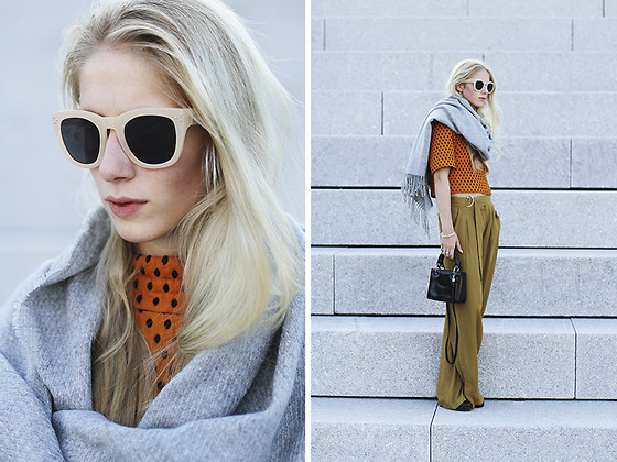 Laura Tonder - H&M Sunglasses, H&M Top, Pieces Scarf, Zara Pants, Christian Dior Bag - Minimalistic in orange
