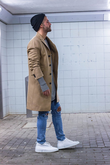 Kosta Williams - H&M Beanie, H&M Camel Coat, Smjstyle.Shop Stripes Longsleave, H&M Destroyed Jeans ( Self Customized ), Casbia William - Its not about labels - its about looks