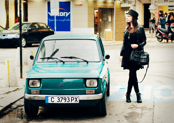 Mariya Marinova - H&M Leather Jacket, Pull & Bear Dress, Pull & Bear Handbag - A car and a girl.