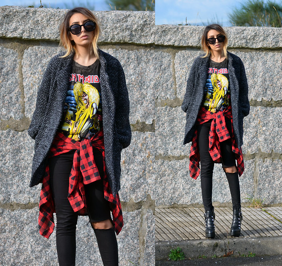L A - High Heels Suicide Iron Maiden Distressed Tshirt, High Heels Suicide Flannel - EDDIE RIPS UP THE WORLD