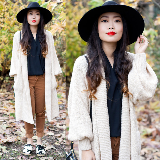 Toshiko S. - Forever 21 Wide Brim Fedora Hat, Vintage Cocoon Sweater Coat, Ro&De Black Chiffon Blouse, Old Navy Corduroy Skinny Pants, Sandgrens Cow Swedish Clogs - Leaf Me Alone