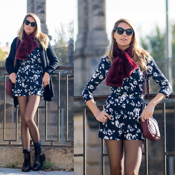 Vanessa Basanta - Bershka Flower Print Jumpsuit, Zara Oxfod Shoes - A burgundy touch