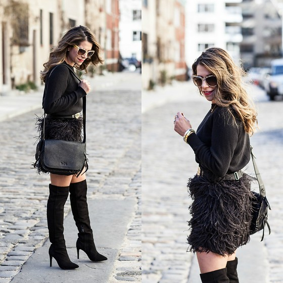 Olivia J -  - Feather Skirt + Over the Knee Boot