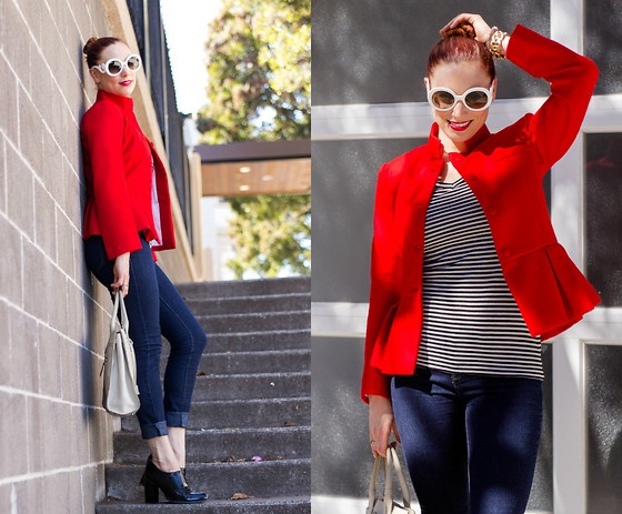 Caity Shreve - A By Anubha Red Peplum Jacket, Paige Denim Jeans, Zara Ankle Boots, Dooney & Bourke Top Handle Bag, Bcbg Striped Tee - Saturday Styling