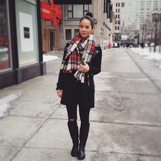 Tweety Ho - Zara Black Coat, Vero Moda Plaid Scarf - A Dash Of Plaid