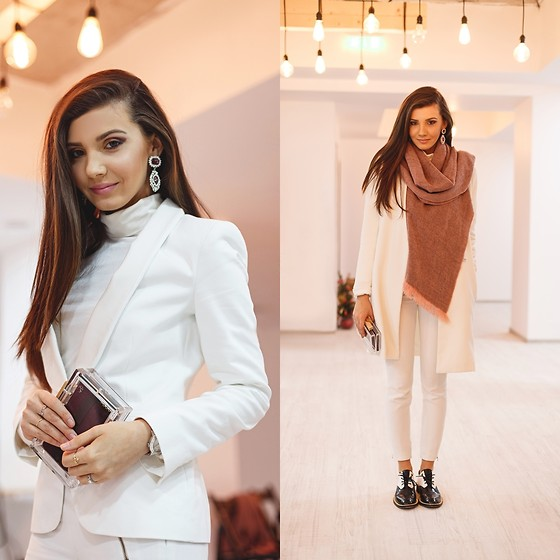 Larisa Costea - Sheinside Coat, Sheinside Scarf, Jessica Buurman Oxfords, Borealy Earrings - All white with some pink
