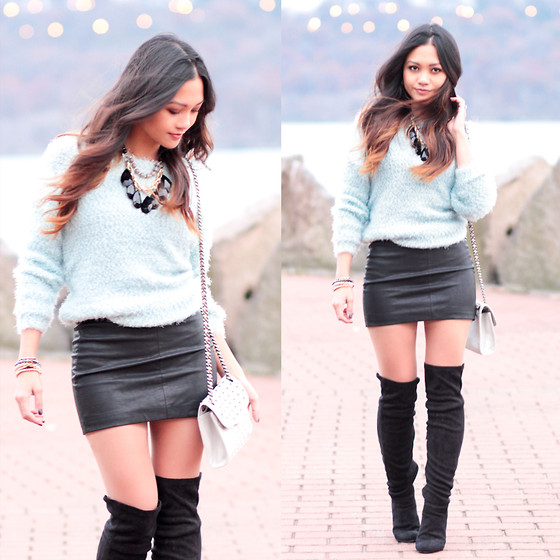 BLESSIE - Zara Black Leather Skirt, Rebecca Minkoff Studded Blag, Forever 21 Blue Fuzzy Sweater - WINTER BLUE LUSH