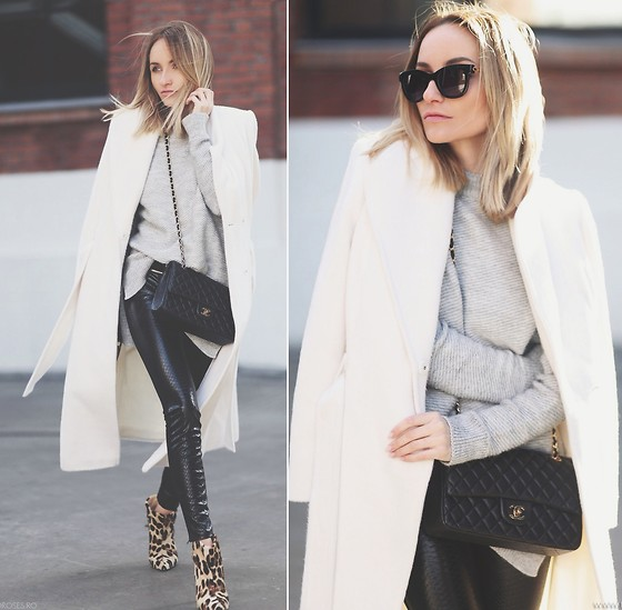 Silvia P. - Marks & Spencer Coat, Zara Knit, Guess? Leggins, Smilingshoes Boots, Chanel Purse, Zerouv Sunnies - The big white