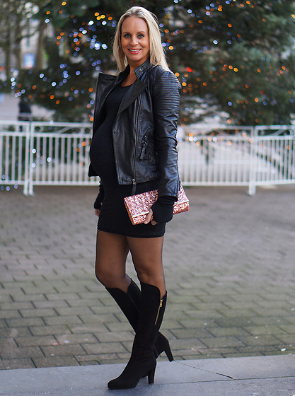 Chris - Fame Glitter Dress, Pepe Jeans Leather Jacket, Lilian Kneehigh Boots, Sequin Clutch - Pregnant Glitter party outfit