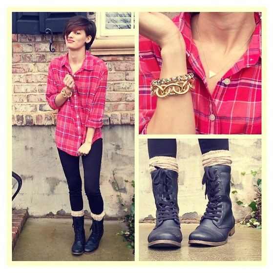 Huntress W. - Ae Plaid Shirt, Max Studio Leggings, Target Jewelry, Target Boots - Lyrical Lies