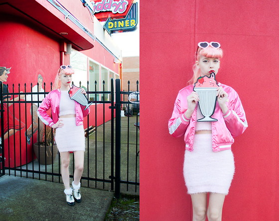 Kailey Flyte - Missguided Fluffy Sweater, Missguided Fluffy Skirt, New Look Milkshake Clutch - Soda Fountain
