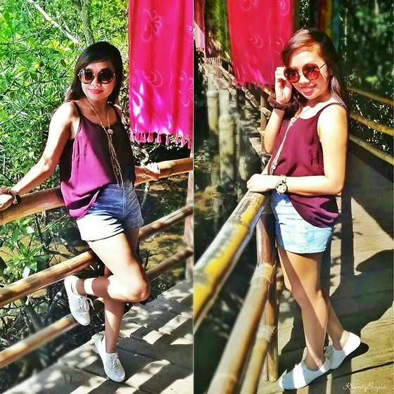 Krissy Pronto - New Look Loose Top, New Look Highwaist Short, Aldo Round Shades, Max White Shoes - Travel Diary: Palawan
