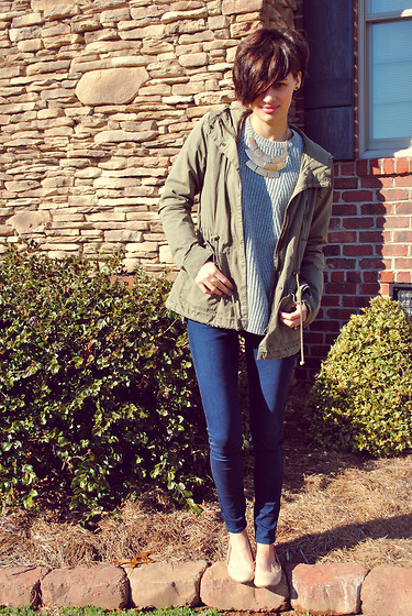 Huntress W. - H&M Anorak, Forever 21 Necklace, Gap Sweater, Bullhead Skinny Jeans, Target Nude Flats - Proof