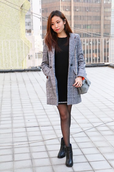 Ring Ng - Flossy X Checked Blazer, Flossy X Black Dress With Pearls, Flossy X Little Grey Bag, Stylenanda Black Boots, Flossy X Pearls Earrings - Checked Addicted