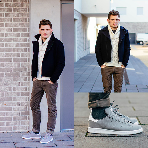 Florian Roser - Adidas Sneakers, Acne Studios Jeans, Zara Sweater, Cos Jacket - Gray Stan Smith