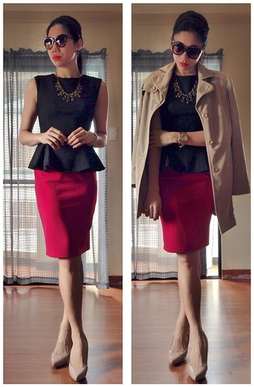 Cassey Cakes - Mango Peplum Top, Forever 21 Pencil Skirt - Corporate Chic
