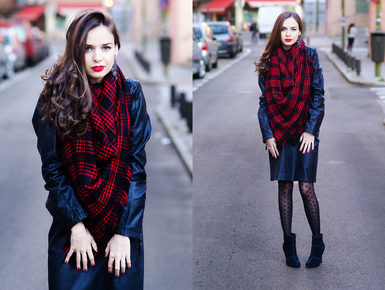 Mariya Marinova - Mango Skirt, H&M Tights - Red oversized scarf.