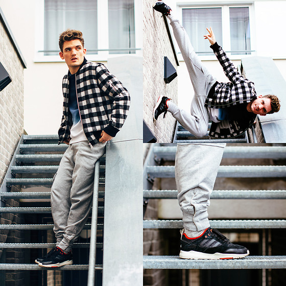 Florian Roser - Ben Sherman Jacket, Acne Studios Sweater, Y 3 Sweatpants, Adidas Sneakers - Sporty day