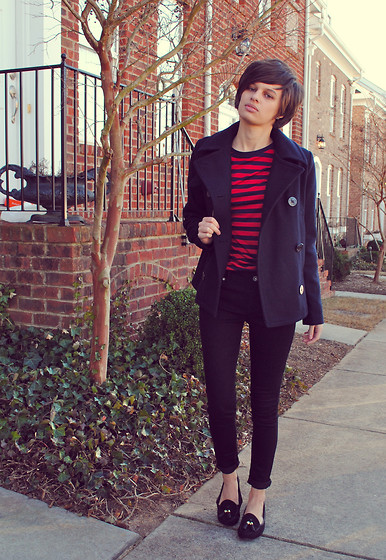 Huntress W. - Gap Peacoat, Gap Striped Tee, Bullhead Black Skinny Jeans, Target Loafers - There Is No End To Love